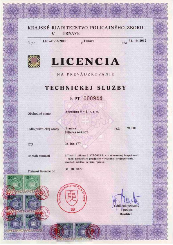 Licencia na prevádzku technickej služby