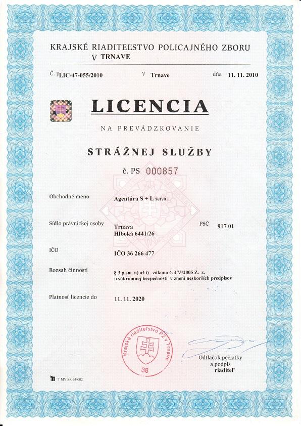Licencia na prevádzku strážnej služby